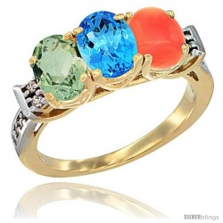 10K Yellow Gold Natural Green Amethyst, Swiss Blue Topaz & Coral Ring 3-Stone Oval 7x5 mm Diamond Accent