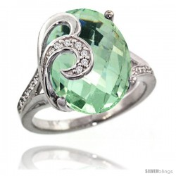 14k White Gold Natural Green Amethyst Ring 16x12 mm Oval Shape Diamond Accent, 5/8 in wide