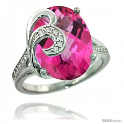14k White Gold Natural Pink Topaz Ring 16x12 mm Oval Shape Diamond Accent, 5/8 in wide