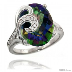 14k White Gold Natural Mystic Topaz Ring 16x12 mm Oval Shape Diamond Accent, 5/8 in wide
