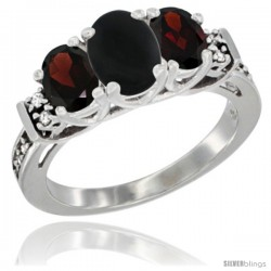 14K White Gold Natural Black Onyx & Garnet Ring 3-Stone Oval with Diamond Accent