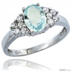 10K White Gold Natural Aquamarine Ring Oval 8x6 Stone Diamond Accent
