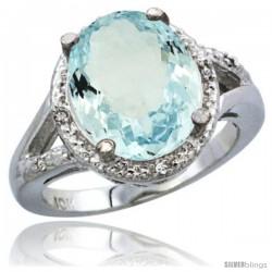 10K White Gold Natural Aquamarine Ring Oval 12x10 Stone Diamond Accent