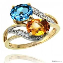 14k Gold ( 8x6 mm ) Double Stone Engagement Swiss Blue Topaz & Citrine Ring w/ 0.07 Carat Brilliant Cut Diamonds & 2.34 Carats
