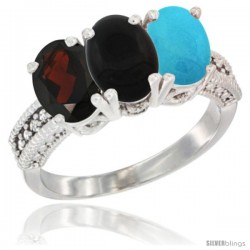 14K White Gold Natural Garnet, Black Onyx & Turquoise Ring 3-Stone 7x5 mm Oval Diamond Accent
