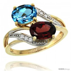 14k Gold ( 8x6 mm ) Double Stone Engagement Swiss Blue Topaz & Garnet Ring w/ 0.07 Carat Brilliant Cut Diamonds & 2.34 Carats