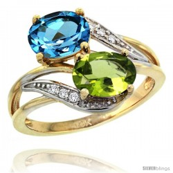14k Gold ( 8x6 mm ) Double Stone Engagement Swiss Blue Topaz & Peridot Ring w/ 0.07 Carat Brilliant Cut Diamonds & 2.34 Carats