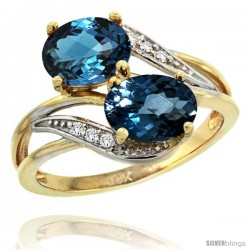 14k Gold ( 8x6 mm ) Double Stone Engagement London Blue Topaz Ring w/ 0.07 Carat Brilliant Cut Diamonds & 2.34 Carats Oval Cut