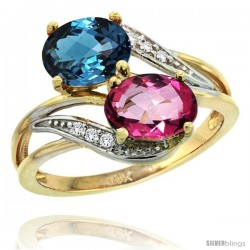14k Gold ( 8x6 mm ) Double Stone Engagement London Blue & Pink Topaz Ring w/ 0.07 Carat Brilliant Cut Diamonds & 2.34 Carats