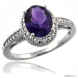 Sterling Silver Diamond Vintage Style Oval Amethyst Stone Ring Rhodium Finish, 8x6 mm Oval Cut Gemstone