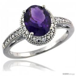 Sterling Silver Diamond Vintage Style Oval Amethyst Stone Ring Rhodium Finish, 8x6 mm Oval Cut Gemstone