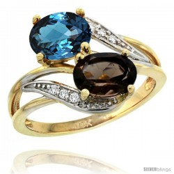 14k Gold ( 8x6 mm ) Double Stone Engagement London Blue & Smoky Topaz Ring w/ 0.07 Carat Brilliant Cut Diamonds & 2.34 Carats
