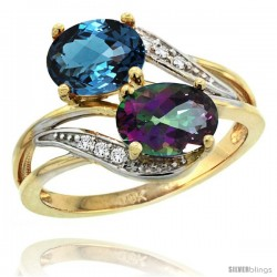 14k Gold ( 8x6 mm ) Double Stone Engagement London Blue & Mystic Topaz Ring w/ 0.07 Carat Brilliant Cut Diamonds & 2.34 Carats
