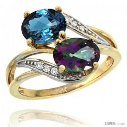 14k Gold ( 8x6 mm ) Double Stone Engagement London Blue & Mystic Topaz Ring w/ 0.07 Carat Brilliant Cut Diamonds & 2.34 Carats