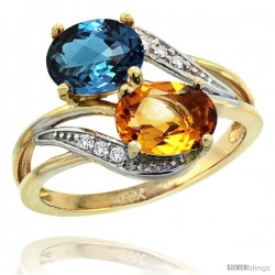 14k Gold ( 8x6 mm ) Double Stone Engagement London Blue Topaz & Citrine Ring w/ 0.07 Carat Brilliant Cut Diamonds & 2.34 Carats