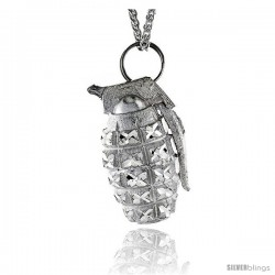 "Sterling Silver Hand Grenade Pendant, 2 3/16"" (55 mm) tall"