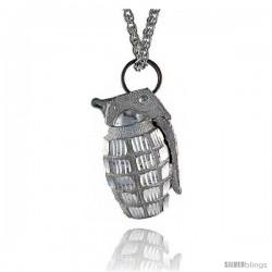 "Sterling Silver Hand Grenade Pendant, 1 9/16"" (39 mm) tall"