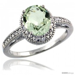Sterling Silver Diamond Vintage Style Oval Green Amethyst Stone Ring Rhodium Finish, 8x6 mm Oval Cut Gemstone