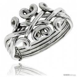 Sterling Silver 4-Piece Celtic Loop Design Puzzle Ring Band, 1/2 in. (12.5 mm) wide