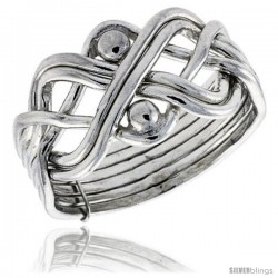 Sterling Silver 6-Piece Beaded Loop Design Puzzle Ring Band, 7/16 in. (11.5 mm) wide