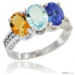 14K White Gold Natural Citrine, Aquamarine & Tanzanite Ring 3-Stone 7x5 mm Oval Diamond Accent