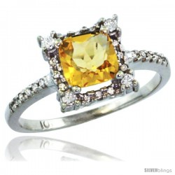 14k White Gold Diamond Halo Citrine Ring 1.2 ct Checkerboard Cut Cushion 6 mm, 11/32 in wide