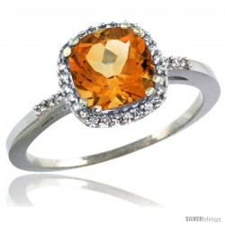 14k White Gold Diamond Citrine Ring 1.5 ct Checkerboard Cut Cushion Shape 7 mm, 3/8 in wide