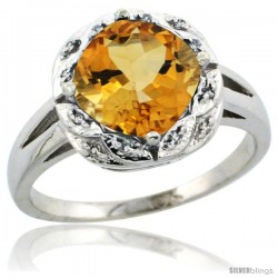 14k White Gold Diamond Halo Citrine Ring 2.7 ct Checkerboard Cut Cushion Shape 8 mm, 1/2 in wide