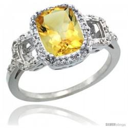 14k White Gold Diamond Citrine Ring 2 ct Checkerboard Cut Cushion Shape 9x7 mm, 1/2 in wide