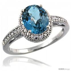 Sterling Silver Diamond Vintage Style Oval London Blue Topaz Stone Ring Rhodium Finish, 8x6 mm Oval Cut Gemstone