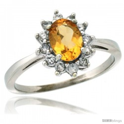 14k White Gold Diamond Halo Citrine Ring 0.85 ct Oval Stone 7x5 mm, 1/2 in wide