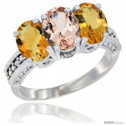 14K White Gold Natural Morganite & Citrine Sides Ring 3-Stone 7x5 mm Oval Diamond Accent