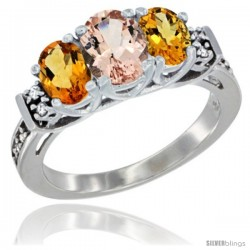 14K White Gold Natural Morganite & Citrine Ring 3-Stone Oval with Diamond Accent