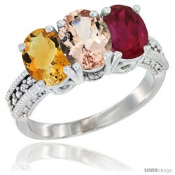 14K White Gold Natural Citrine, Morganite & Ruby Ring 3-Stone 7x5 mm Oval Diamond Accent