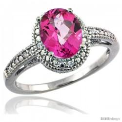 Sterling Silver Diamond Vintage Style Oval Pink Topaz Stone Ring Rhodium Finish, 8x6 mm Oval Cut Gemstone