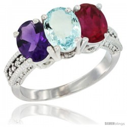 14K White Gold Natural Amethyst, Aquamarine & Ruby Ring 3-Stone 7x5 mm Oval Diamond Accent