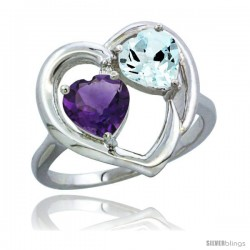 14k White Gold 2-Stone Heart Ring 6mm Natural Amethyst & Aquamarine Diamond Accent