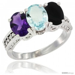 14K White Gold Natural Amethyst, Aquamarine & Black Onyx Ring 3-Stone 7x5 mm Oval Diamond Accent