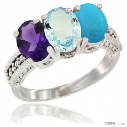 14K White Gold Natural Amethyst, Aquamarine & Turquoise Ring 3-Stone 7x5 mm Oval Diamond Accent