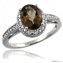 Sterling Silver Diamond Vintage Style Oval Smoky Topaz Stone Ring Rhodium Finish, 8x6 mm Oval Cut Gemstone