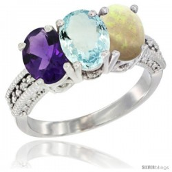 14K White Gold Natural Amethyst, Aquamarine & Opal Ring 3-Stone 7x5 mm Oval Diamond Accent