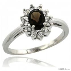 10k White Gold Smoky Topaz Diamond Halo Ring Oval Shape 1.2 Carat 6X4 mm, 1/2 in wide
