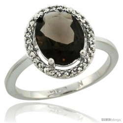 10k White Gold Diamond Halo Smoky Topaz Ring 2.4 carat Oval shape 10X8 mm, 1/2 in (12.5mm) wide