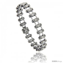 Stainless Steel Bicycle Chain Bracelet, 3/8 in wide, 7.25 in