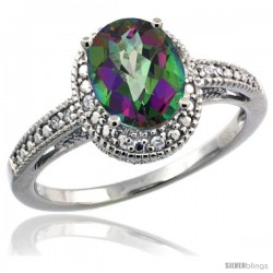 Sterling Silver Diamond Vintage Style Oval Mystic Topaz Stone Ring Rhodium Finish, 8x6 mm Oval Cut Gemstone