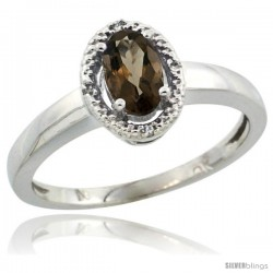 10k White Gold Diamond Halo Smoky Topaz Ring 0.75 Carat Oval Shape 6X4 mm, 3/8 in (9mm) wide