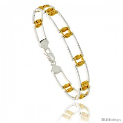 Sterling Silver Cut Out Bar Link Beaded Bracelet w/ Gold Finish), 5/16 in. (8.5 mm) wide