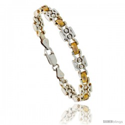Sterling Silver ZigZag Bar Link Beaded Bracelet w/ Gold Finish), 9/32 in. (7 mm) wide