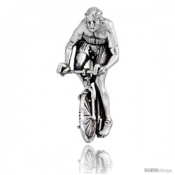 "Sterling Silver Bicyclist Brooch Pin, 1 1/4"" (32 mm) tall"