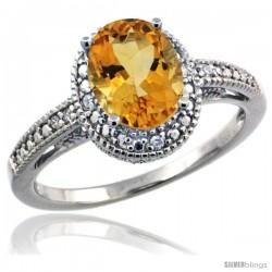 Sterling Silver Diamond Vintage Style Oval Citrine Stone Ring Rhodium Finish, 8x6 mm Oval Cut Gemstone